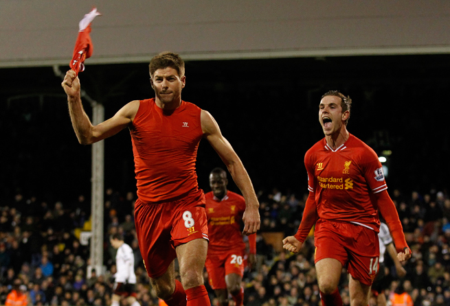 Liverpool's Steven Gerrard celebrates his penalty kick that gave Liverpool a 3-2 win over Fulham.