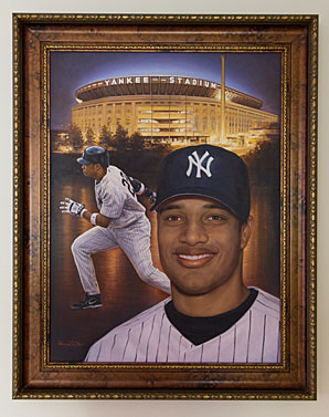 This painting in Cano's house shows him as he looked for nine seasons -- in Yankees pinstripes.