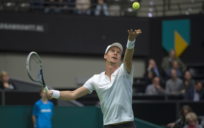 Tomas Berdych serves during his victory in the ABN AMRO world tennis tournament.