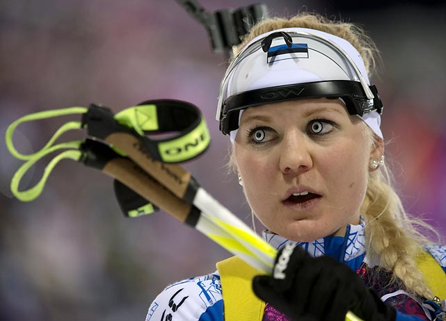 Speaking of demons, the Estonian biathlete looked like a woman possessed while competing in the Olympic 7.5k sprint.