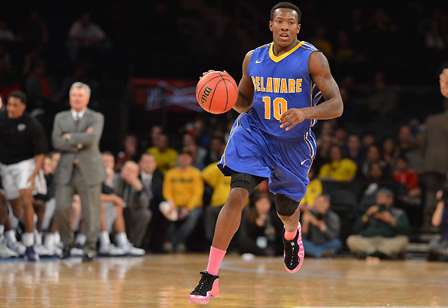 Devon Saddler (pictured), Davon Usher and Jarvis Threatt form a powerful backcourt trio for Delaware, which could cause problems for top-ranked teams in the early rounds.