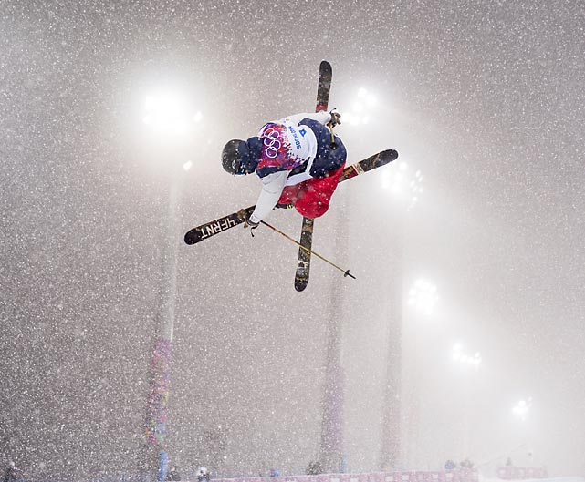 David Wise of the U.S. flies through the air during Tuesday's qualification for the Freestyle Halfpipe in Sochi. Wise won the gold medal for the event.