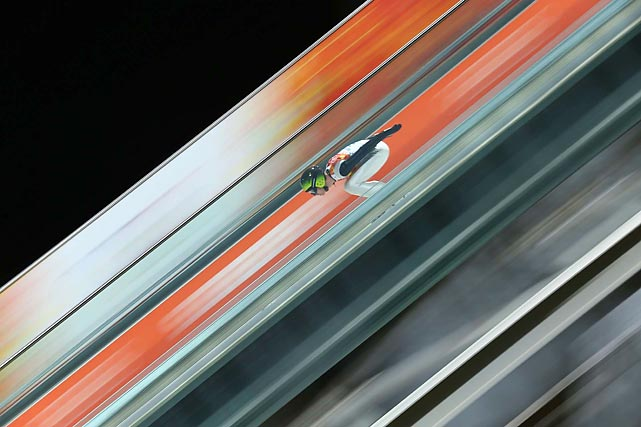 Sebastian Colloredo of Italy competes in the Large Hill ski jumping competition on Saturday in Sochi. Colloredo finished 22nd in the event.