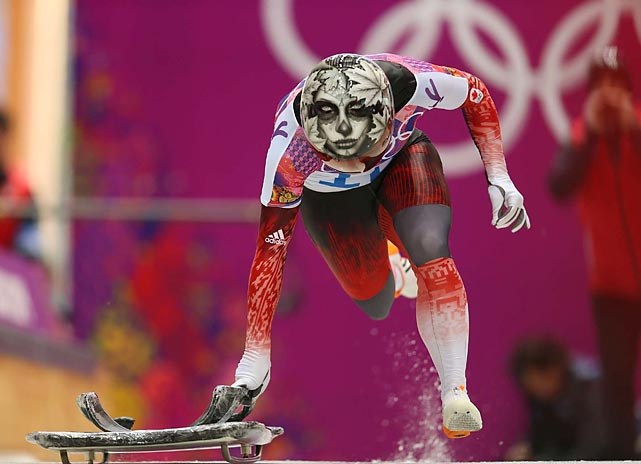 Sarah Reid of Canada competes during last Thursday's heats for the skeleton contest in Sochi.