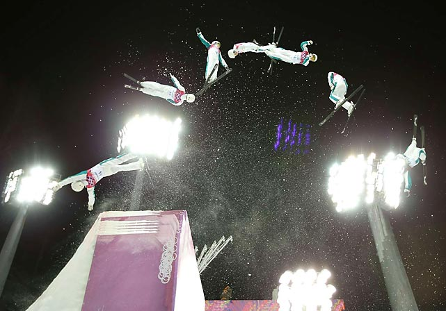 Lydia Lassila of Austria jumps during the Freestyle Skiing Aerials final in Sochi. Lassila earned a bronze medal in Friday's competition.