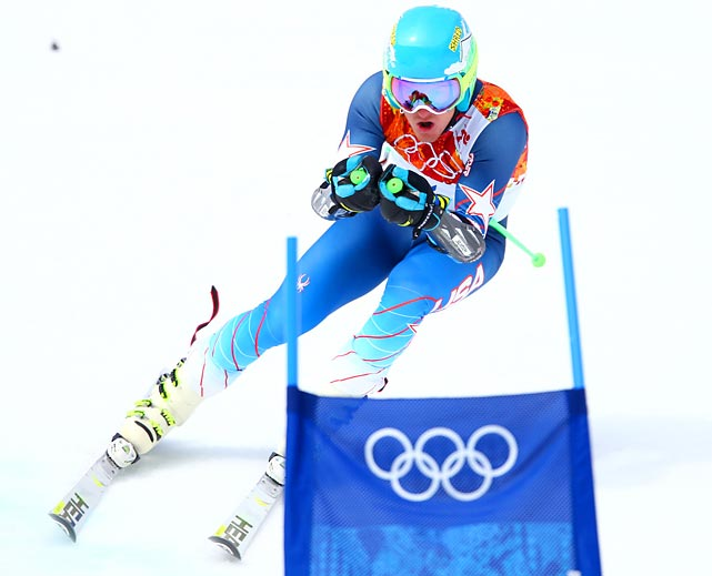 Ted Ligety of the U.S. takes his first run during Wednesday's Giant Slalom, for which Ligety won the gold medal.