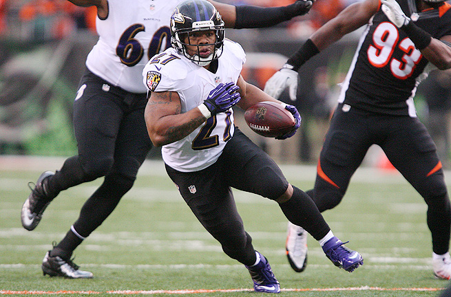 Ray Rice comes off an injury-riddled 2013 season during which he rushed for just 660 yards.