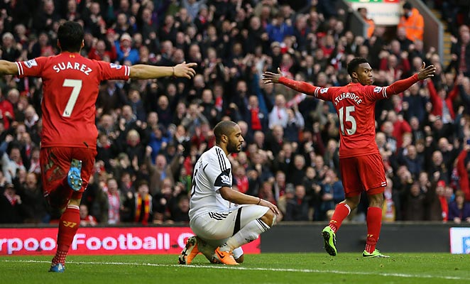Daniel Sturridge kept Liverpool's attack on record pace in a 4-3 win over Swansea on Sunday.