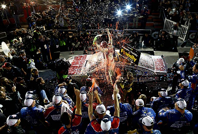 Dale Earnhardt Jr. celebrates in Victory Lane, 10 years after his only other Daytona 500 victory.