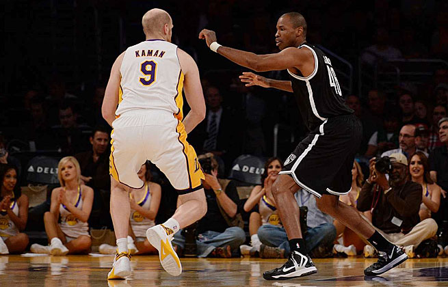 Jason Collins had two rebounds and a steal in 11 minutes during his season debut with the Nets in L.A.