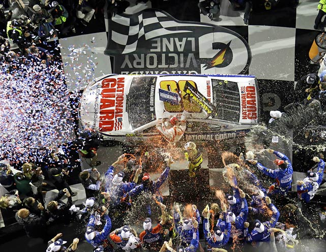 Earnhardt Jr. celebrates in Victory Lane after winning the NASCAR Daytona 500 Sprint Cup Series race at Daytona International Speedway in 2014.