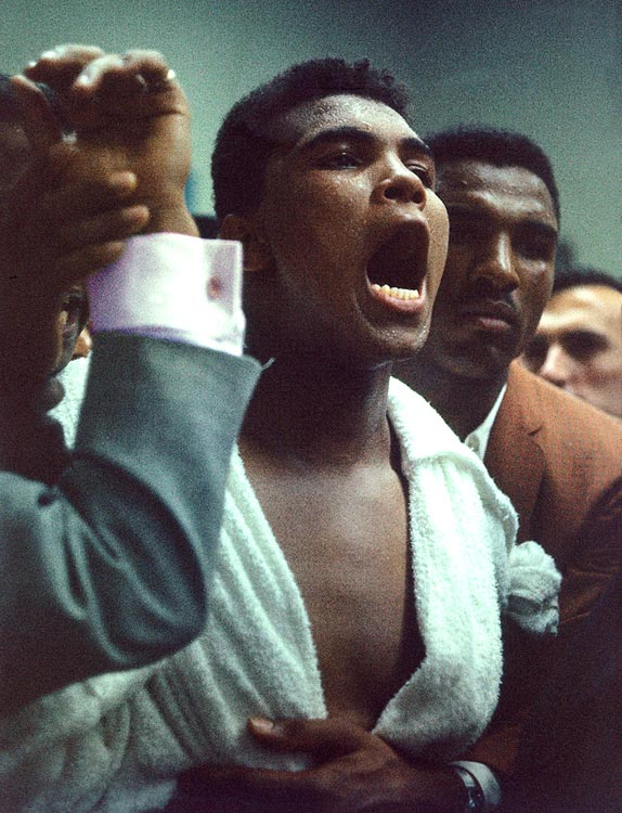 Cassius Clay sounds off during weigh-ins prior to his bout with Sonny Liston.