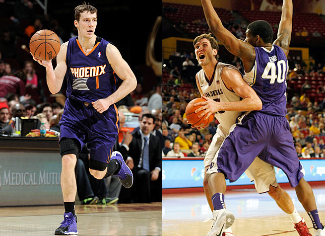 Phoenix's Goran Dragic (left) and Arizona State's Jordan Bachynski have been surprise success stories.