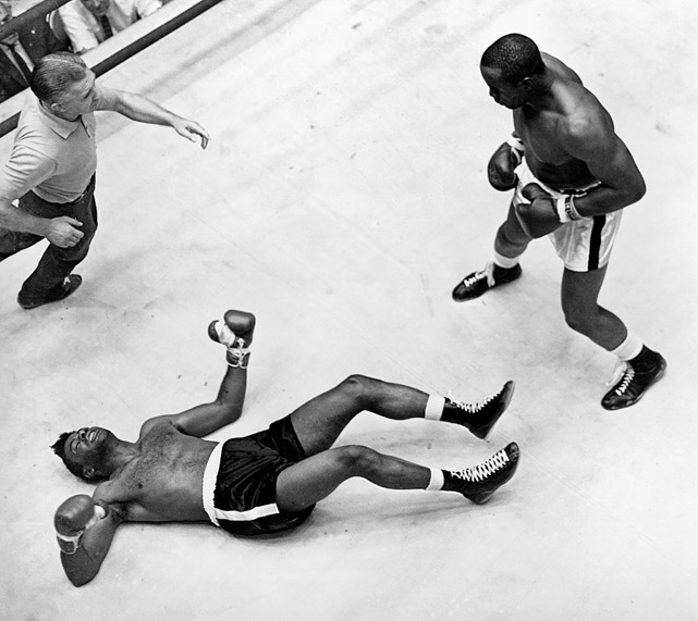 In the early 1960s, Sonny Liston loomed as the most fearsome fighter in the sport. He destroyed Floyd Patterson in one round to win the heavyweight title in 1962 and, here, in Las Vegas 10 months later, he again flattened Patterson in the opening round. Most boxing fans considered Liston unbeatable.