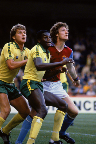 Justin Fashanu, center, proved to be a challenge for opposing defenders while at Norwich City.