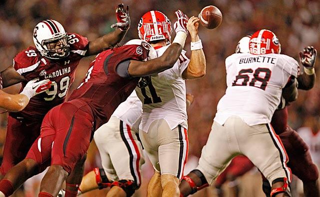 Clowney hits Georgia quarterback Aaron Murray.