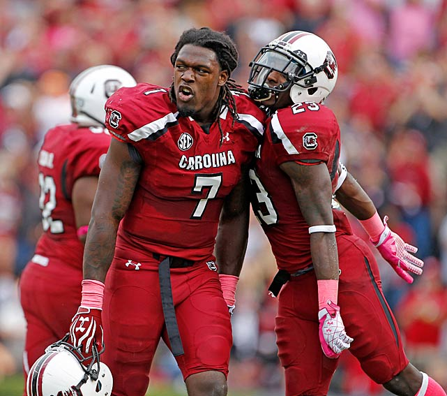 Clowney celebrates after causing a fumble against Tennessee.