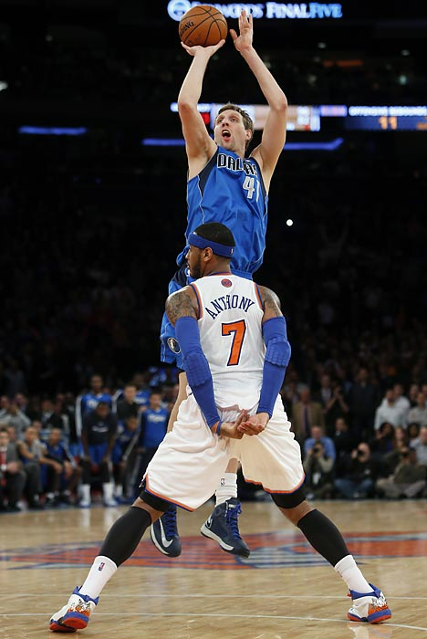 Dallas Mavericks forward Dirk Nowitzki buries the game-winning jump shot at the buzzer on Monday against the Knicks. The Mavs overcame 44 points from Carmelo Anthony to top New York.