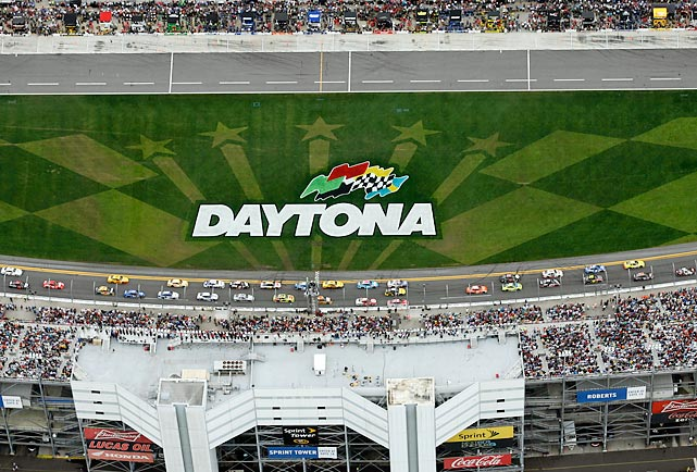 Competitors race around Daytona International Speedway during Sunday's Daytona 500 in this photograph taken from the Goodyear Blimp.