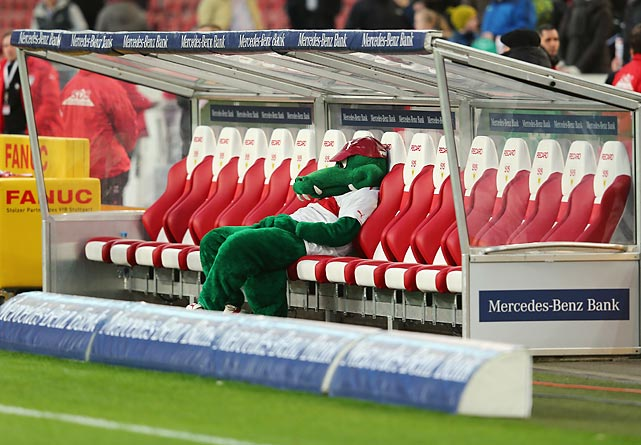 """Firtzle,"" the mascot of German soccer club VfB Stuttgart, slumps in its chair after Stuttgart fell 2-1 to Bundesliga competitor Hertha BSC Berlin on Saturday."