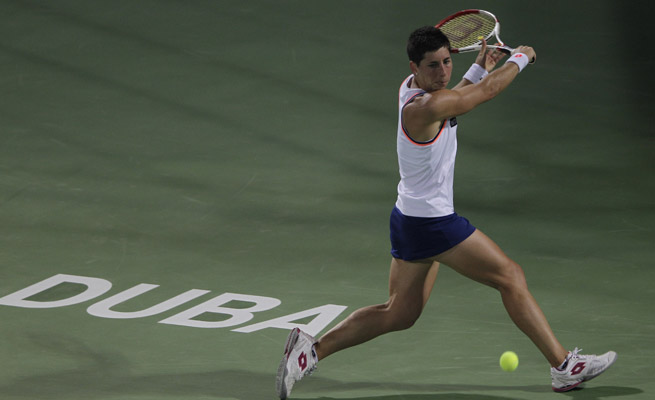 Carla Suarez Navarro will face fifth-seeded Monica Niculescu in the Brazil Cup quarterfinals after her win on Wednesday.