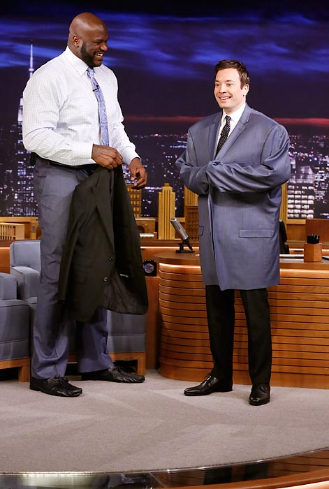 Keeping 'em in stitches: The former NBA star and the zany new <italics>Tonight Show</italics> host compared tailors on the Feb. 25 edition of the show.