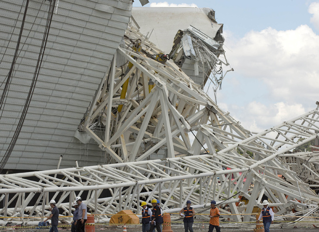 A crane collapse at the Itaquerao stadium in November caused long delays in its construction.