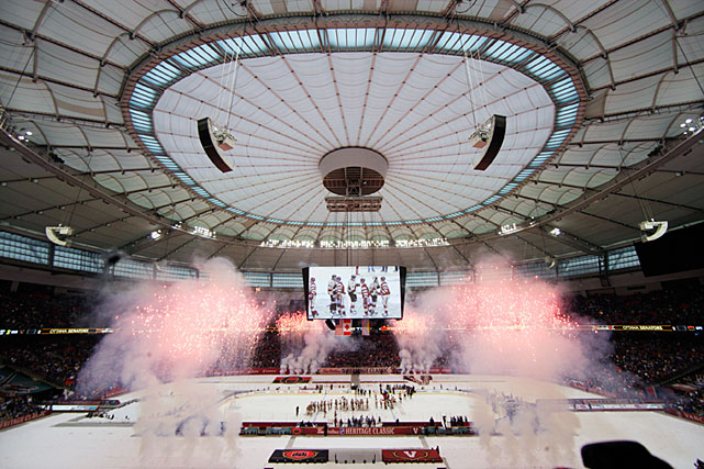The NHL's third edition of the Heritage Classic, the game that first took the league outdoors in 2003, was held at Vancouver's retractable roofed B.C. Place on March 2. Unfortunately, the weather did not conspire to create a winter wonderland setting. Rain required a closing of the roof, turning the year's final outdoor game into an indoor match.