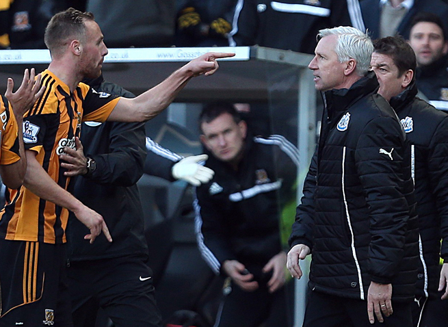 Newcastle manager Alan Pardew, right, has been banned seven games by the FA for headbutting Hull City's David Meyler, left, over the weekend.