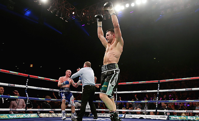 Carl Froch (front) defeated George Groves in November, but Groves appealed an early referee stoppage, setting up their rematch in May.