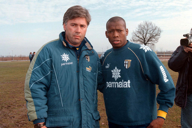 A young Faustino Asprilla stands with then-Parma manager Carlo Ancelotti, who now manages Real Madrid.