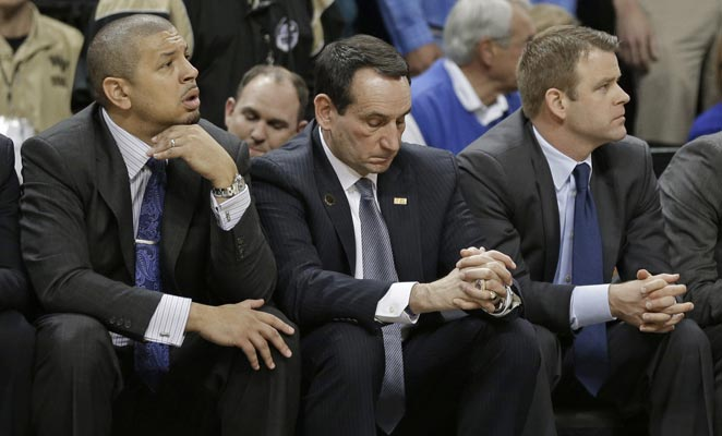 Duke coach Mike Krzyzewski skipped his press conference after Duke's loss due to light headedness.