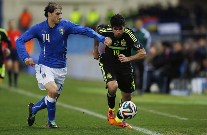 Diego Costa (right) made his debut for Spain, though he failed to score against Italy on Wednesday.