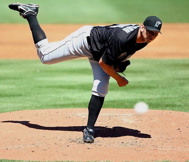 Marlins ace Josh Johnson debuted in 2006 with an impressive 12-7 record and 3.10 ERA. But after starting 2007 0-3 with a 7.47 ERA he was sidelined by Tommy John surgery in August. He returned to the big leagues in July 2008 and finished that year 7-1. In 2009, his first full year after surgery, Johnson turned in an All-Star season with a 15-5 record and a career-high 191 strikeouts; in 2010, he led the league with a 2.30 ERA and made another All-Star game, even finishing fifth in NL Cy Young voting. But injuries cut his 2011 season short, and in 2013 -- his first as a Toronto Blue Jay -- he played poorly, finishing the year 2-8.