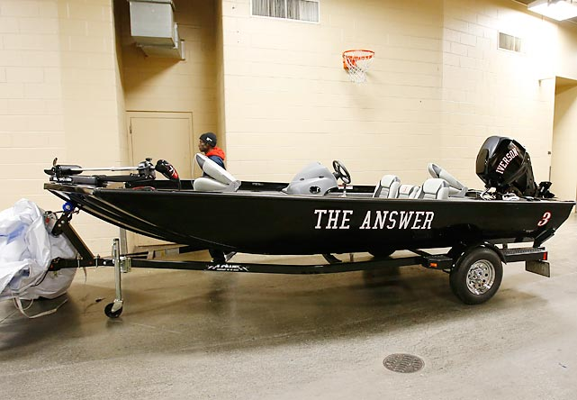In other nautical news, former Philadelphia 76ers star Allen Iverson was feeling a little dinghy after being awarded this cutting edge craft upon his jersey retirement. As the sages say, give a former NBA star a fish and he'll eat for a day. Teach him to fish and he'll sit in a boat and drink beer all day whle singing tunes like this timeless classic.