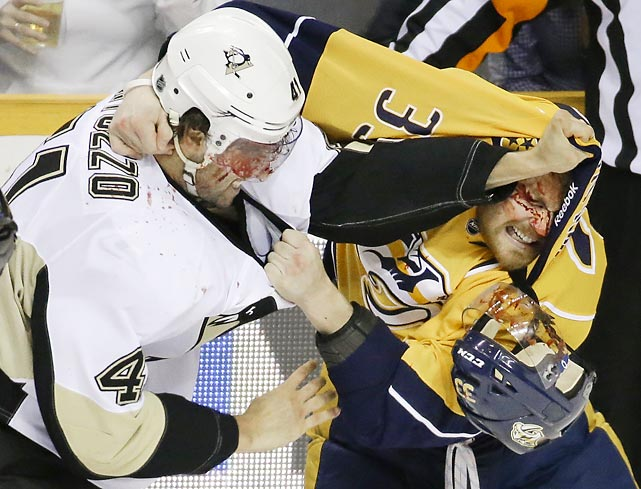 Pittsburgh Penguins defenseman Robert Bortuzzo (41) and Nashville Predators forward Colin Wilson conducted their own sweet science experiment during a recent hockey game in the Music City.