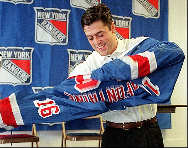 Islanders fans were horrified when their former hero donned the dreaded blueshirt after a trade from Buffalo in Sept. 1997. Unfortunately for LaFontaine and the Rangers, the future Hall of Famer had suffered a string of injuries, including a concussion, that made it all he could do to make it through the season. Nevertheless, he produced a respectable 62 points in 67 games, reached the 1,000 career point mark, and played for Team USA at the Nagano Olympics. Another serious concussion forced him to retire after the season. The Rangers did not reach the playoffs. <bold>Notable team members during LaFontaine's tenure:</bold> Wayne Gretzky, Mark Messier, Adam Graves, Brian Leetch, Luc Robitaille, Esa Tikkanen, Mike Richter