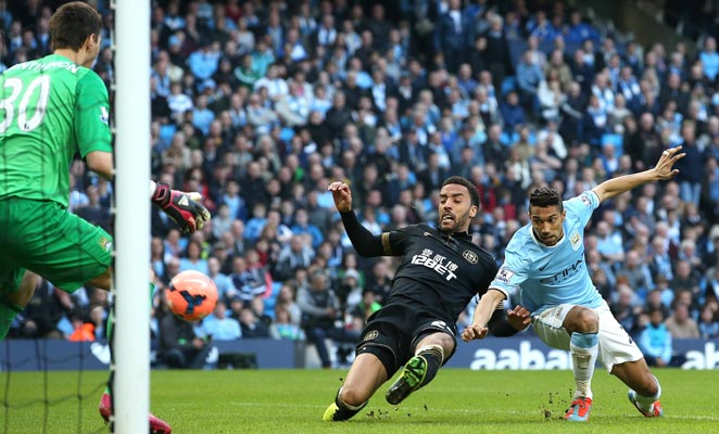 James Perch (Center) scored the winning goal as Wigan upset Manchester City in the FA Cup again.