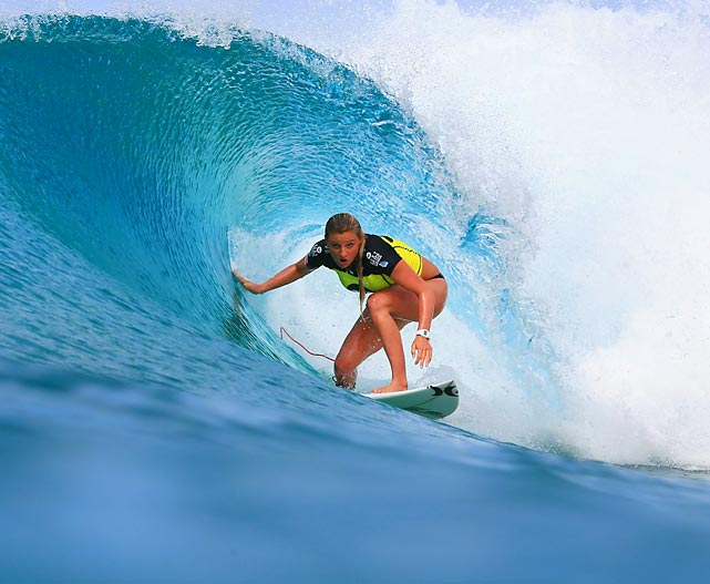 American surfer Lakey Peterson glides along a wave as she advanced to the quarterfinals of the Roxy Pro Gold Coast at Snapper Rocks in Australia.