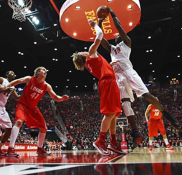 San Diego State forward Winston Shepard looks to shoot in a Saturday game against New Mexico. The Aztecs won 51-48 after rallying from a 16-point deficit, avenging a loss earlier this season against New Mexico and improving to 27-3.