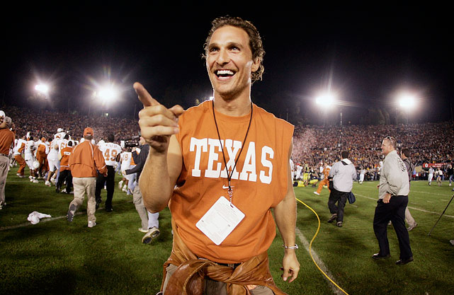 Matthew McConaughey celebrates on the field after the Texas Longhorns defeated the Michigan Wolverines 38-37 in the Rose Bowl on Jan. 1, 2005 in Pasadena, Calif.