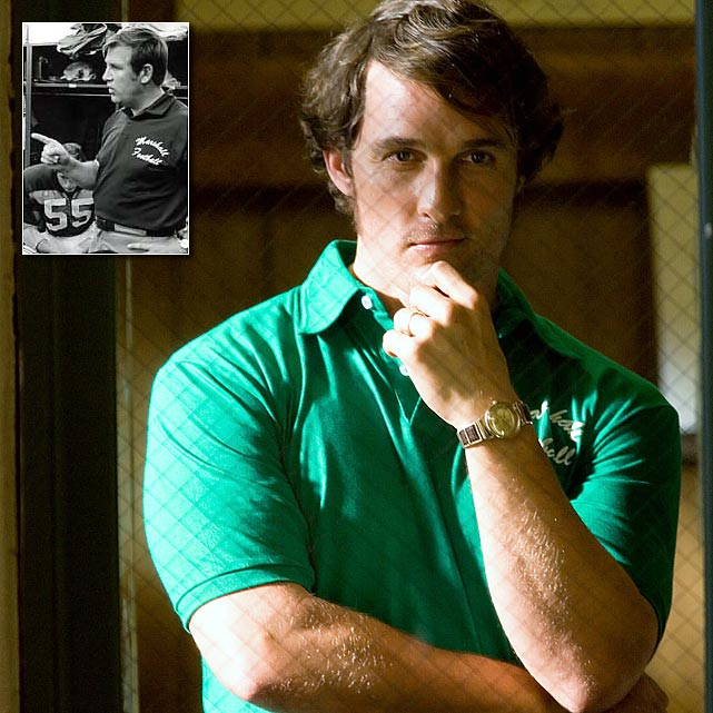 Matthew McConaughey portrays Marshall football coach Jack Lengyel (inset) in the 2006 film <italics>We Are Marshall</italics>.