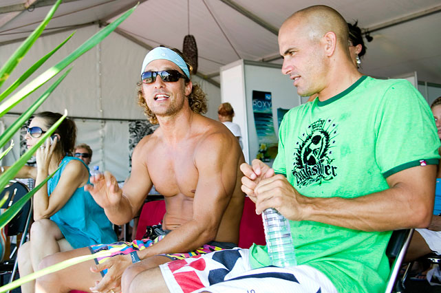 Matthew McConaughey and eight time world surfing champion Kelly Slater attend the Quiksilver Pro on March 4, 2007 at Snapper Rocks in Coolangatta along Queensland's Gold Coast, Australia.