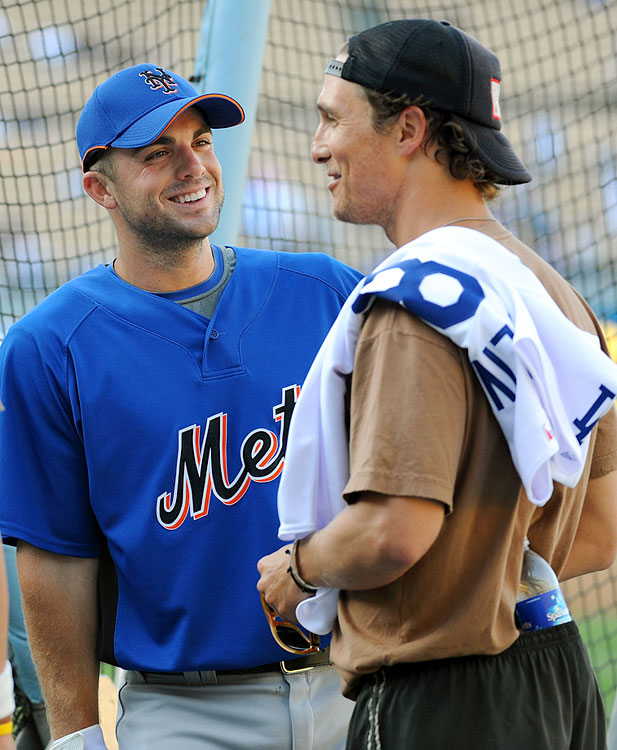 New York Mets third baseman David Wright jokes with Matthew McConaughey before he throws out the ceremonial first pitch for the game between the New York Mets and Los Angeles Dodgers at Dodger Stadium on May 20, 2009 in Los Angeles.