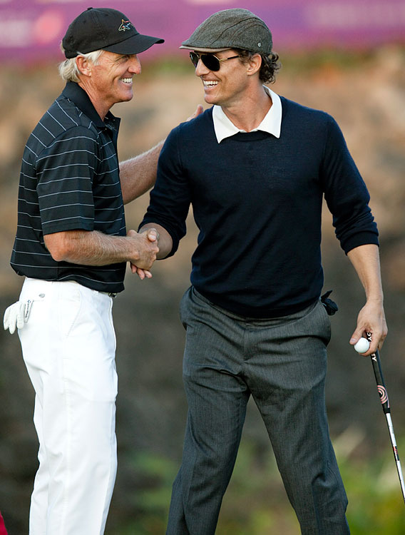 Greg Norman and Matthew McConaughey shake hands during day four of the Mission Hills Start Trophy tournament at Mission Hills Resort on Oct. 30, 2010 in Haikou, China.