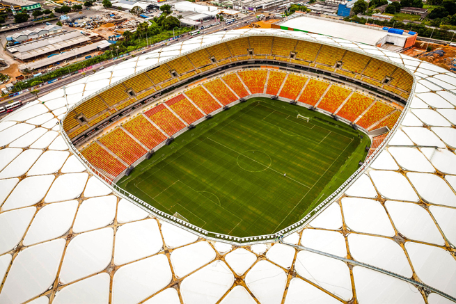 Arena Amazonia, which will host the USA's match against Portugal in this summer's World Cup, opened Sunday after construction was completed.