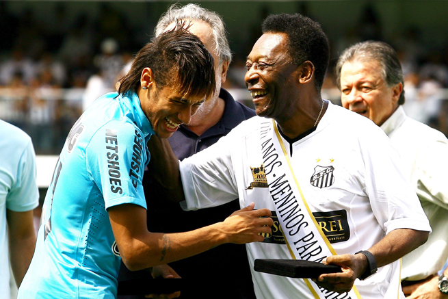 Brazil great Pele, right, believes that moving to Europe to join Barcelona will serve Neymar, left, in handling World Cup pressure this summer.