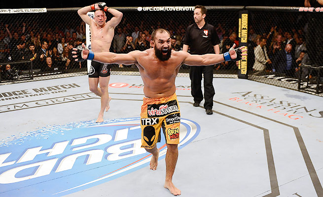 It was premature celebration for Johny Hendricks, who later fell to his knees when a controversial split decision went Georges St-Pierre's way in November.