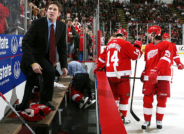The 25-year-old Detroit Red Wings defenseman collapsed on his team's bench during a Nov. 21, 2005 game and was thought to be having a seizure. However, his heart had begun to beat too rapidly before it failed. Team doctor Tony Colucci immediately started CPR and Fischer was revived with a defibrillator while still in the bench area. He was later found to have a structural heart abnormality -- hypertrophic cardiomyopathy -- that included an unusually thick heart muscle. Fischer never played again. The incident led the NHL to mandate that two physicians be seated within 50 feet of the team benches with a defibrillator easily accessible.