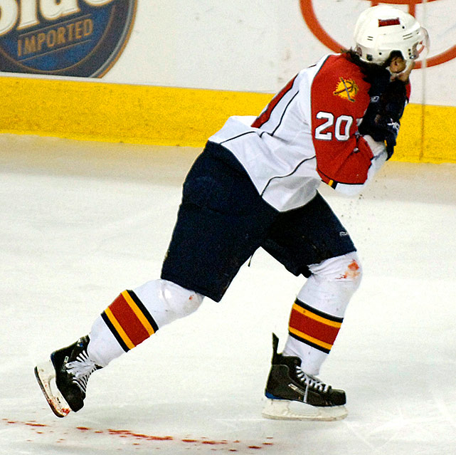 "The Florida Panthers forward lost five pints of blood after his carotid artery was nearly severed by a teammate's skate, which barely missed his jugular, during a February 20, 2008 game in Buffalo. Zednik managed to skate back to his team's bench where an assistant trainer applied a towel to the wound, but he went into shock and had trouble breathing. Placed on a ventilator, he needed an hour-long surgery to reconnect the artery. New Jersey Devils coach Peter DeBoer, who coached Zednik in Florida, recently told <italics>The Star-Ledger</italics>'s Rich Chere. ""He basically practically died in the hallway there in Buffalo."" Zednik, who had been knocked out and hospitalized by a concussion, broken nose and bruised throat in 2002, returned to action seven months later."